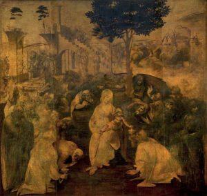 Jusque là, l'usage était de traiter le sujet en peignant un long cortège qui cheminait jusqu'à l'étable où venait de naître l'Enfant Jésus. Léonard rompt avec ces canons en plaçant son Adoration des Mages au milieu d'un théâtre à ciel ouvert, mais où le mouvement de la composition nous ramène toujours vers le centre du tableau, avec la Vierge et les Rois Mages. Marcel Brion a décrit le tableau comme « l'apothéose du mouvement » L'Adoration des mages est un tableau inachevé de Léonard de Vinci. Il est exposé à la Galerie des Offices de Florence. Il mesure 243 x 246 cm et il est constitué de dix planches encollées à la verticale, renforcées par deux traverses de bois.